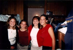 Kerri (far right) in her camper days with Becky Jones, Julie Ulrich and Tina Crossley
