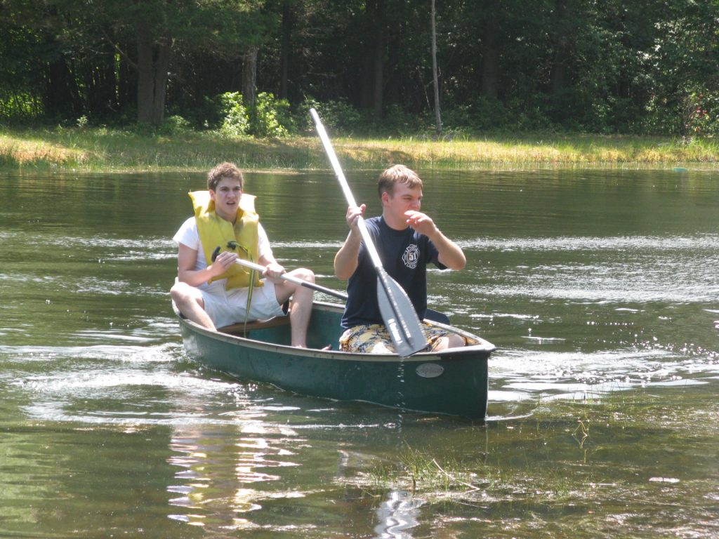 James and Matt on the canoe.