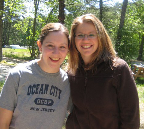 Kristen Fogg (right) with Cheryl Turk near the dining hall