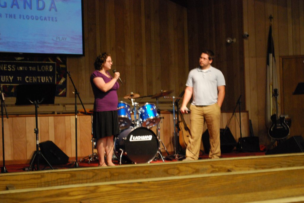 Scott and Meg Rambo shared their stories about how the Lord led them, to each other and to go serve in Uganda on Monday night.